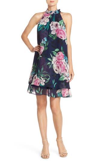 Eliza J Floral Print Chiffon Trapeze Dress