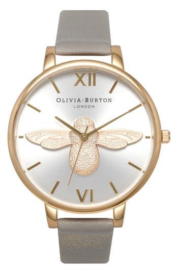 Women's Olivia Burton 'Molded Bee' Leather Strap Watch, 38Mm