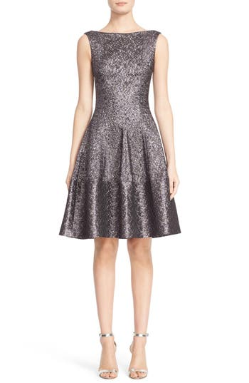 Talbot Runhof Hammered Metallic Jacquard Fit & Flare Dress