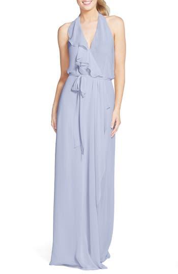 Women's Nouvelle Amsale 'Erica' Ruffle Chiffon Halter Neck Wrap Gown, Size Large - Blue