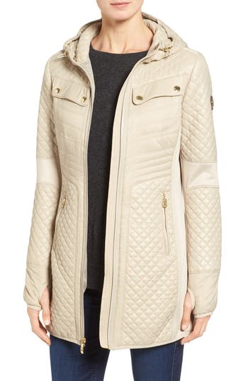 Women's Michael Michael Kors Mixed Media Hooded Zip Front Coat