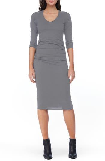 Michael Stars Ruched Midi Dress, Grey