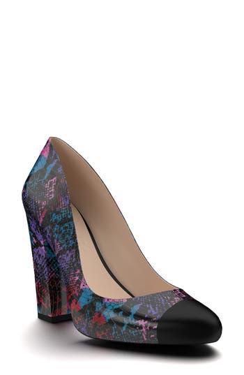 Shoes Of Prey Cap Toe Block Heel Pump - Purple