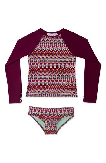 Girl's Gossip Girl Deco Diamond Print Two-Piece Rashguard Swimsuit