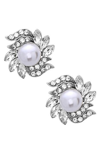 Women's Nina Crystal & Faux Pearl Floral Stud Earrings