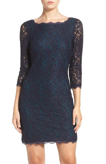 Petite Adrianna Papell Lace Overlay Sheath Dress, Blue