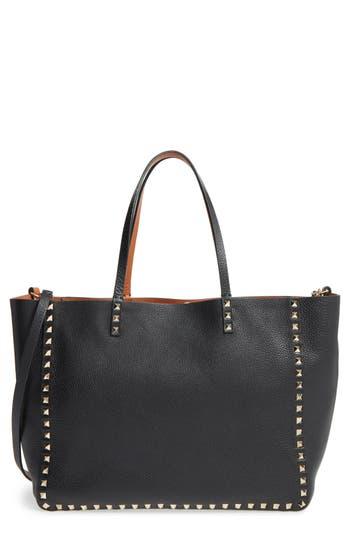 Valentino Garavani 'Medium Rockstud - Alce' Leather Tote - Black