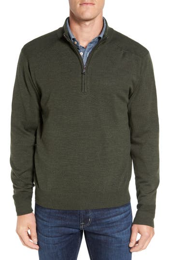 Big & Tall Cutter & Buck Douglas Quarter Zip Wool Blend Sweater - Green