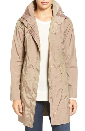 Women's Cole Haan Signature Back Bow Packable Hooded Raincoat, Size X-Small - Beige
