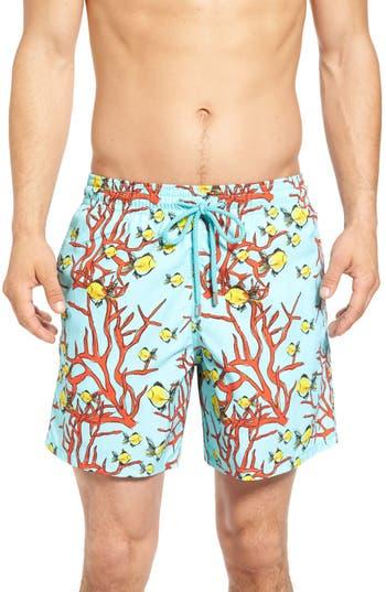 Vilebrequin Coral & Fish Print Swim Trunks, Blue