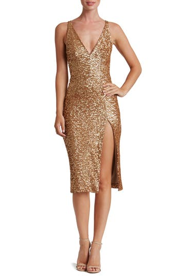 Women's Dress The Population Camilla Sequin Dress, Size X-Large - Metallic