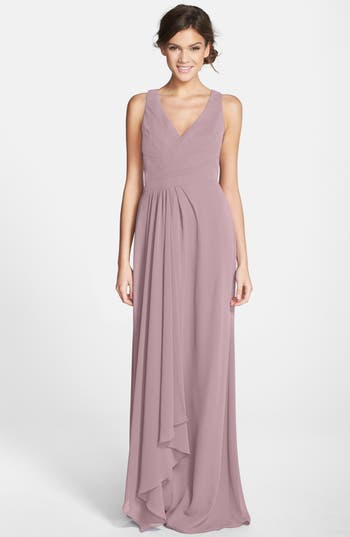 Monique Lhuillier Bridesmaids Sleeveless V-Neck Chiffon Gown, Purple