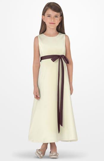 Girls Us Angels Sleeveless Satin Dress Size 6X  Brown