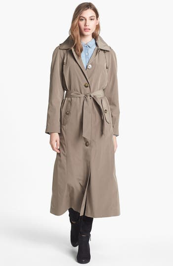 Petite Women's London Fog Long Trench Coat With Detachable Hood & Liner