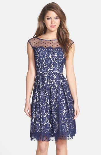 Eliza J Illusion Yoke Lace Fit & Flare Dress