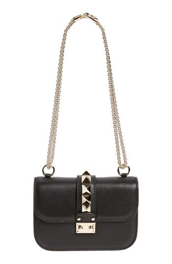 Valentino Garavani Rockstud - Small Lock Leather Crossbody Bag - Black