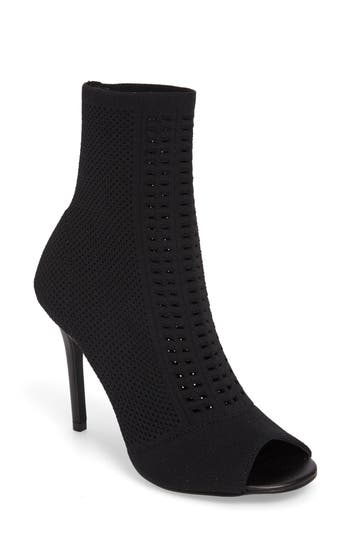 Charles By Charles David Rebellious Knit Peep Toe Bootie- Black