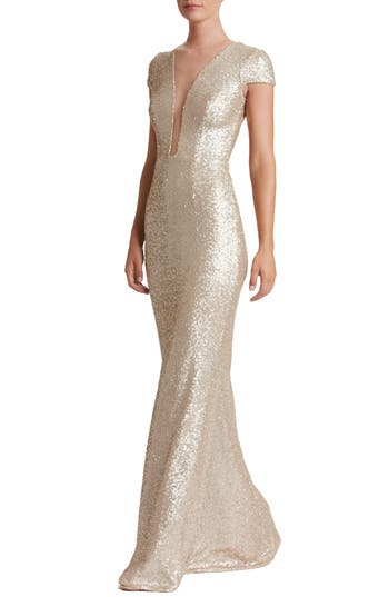 Dress The Population Michelle Sequin Gown, Metallic