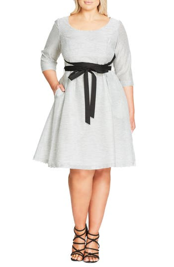Plus Size City Chic Ballerina Tie Waist Fit & Flare Dress
