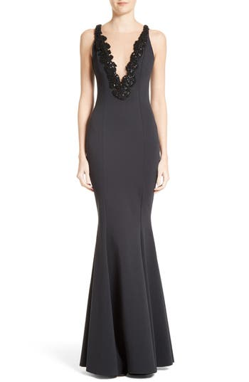 Rachel Gilbert Embellished Illusion V-Neck Trumpet Gown