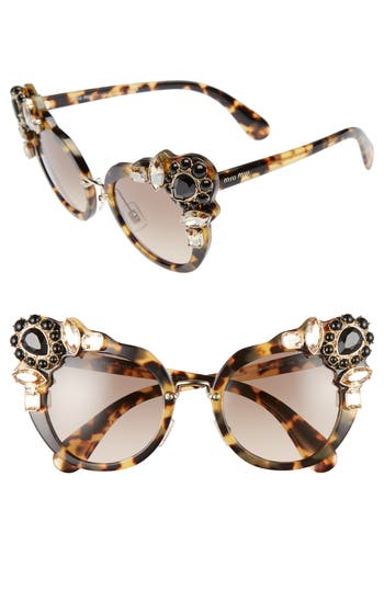 Women's Miu Miu 52Mm Cat Eye Sunglasses - Light Havana