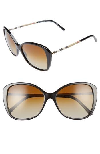 Women's Burberry 57Mm Polarized Sunglasses - Black