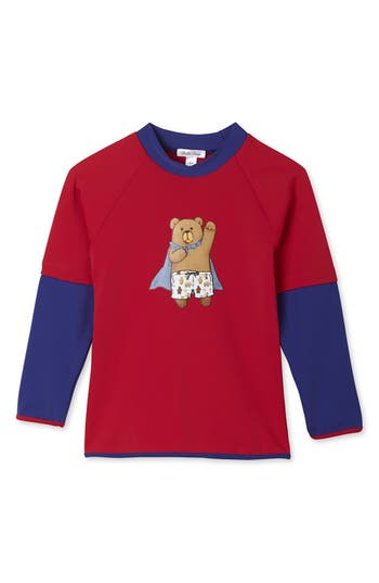 Boys Stella Cove Bear Rashgaurd Size 5Y  Red