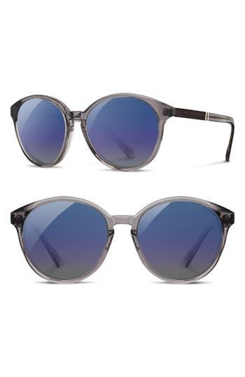 Women's Shwood 'Bailey' 53Mm Polarized Sunglasses - Smoke/ Ebony/ Blue Flash Polar