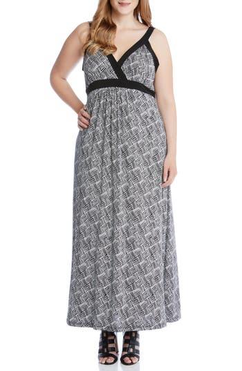 plus size women's karen kane banded a-line maxi dress, size 3x - black