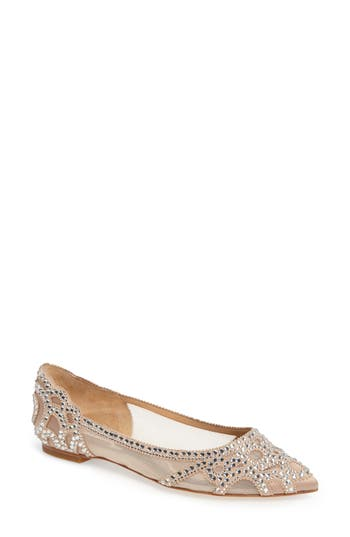 Badgley Mischka Gigi Crystal Pointy Toe Flat- Beige
