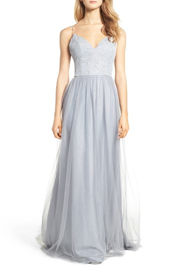 Hayley Paige Occasions Metallic Embellished Gown, Grey