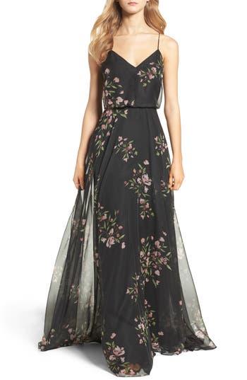 Jenny Yoo Inesse V-Neck Chiffon Gown, Black