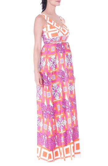 Olian Print Maternity Maxi Dress