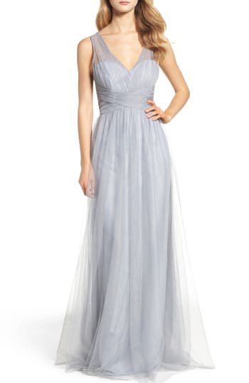 Hayley Paige Occasions Illusion Gown, Grey