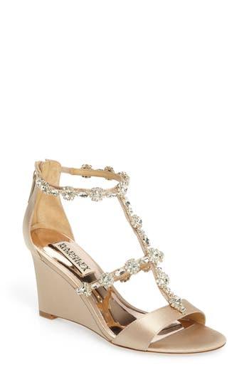 Badgley Mischka Tabby Embellished Wedge Sandal, Beige