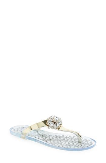 Jewel Badgley Mischka Harrison Embellished Flip Flop, Metallic