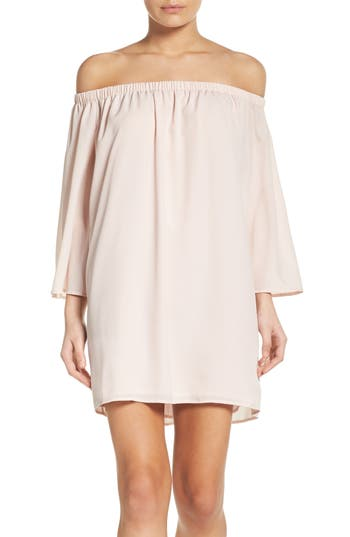 French Connection Polly Off The Shoulder Dress, Pink