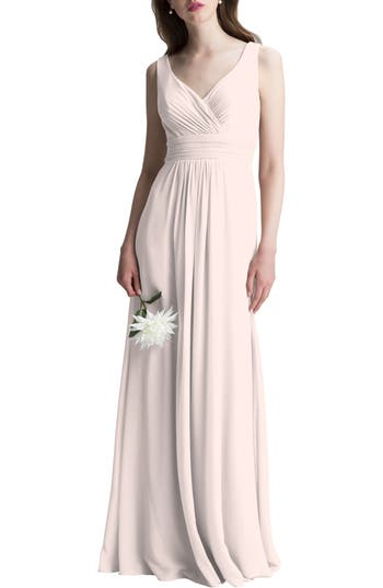 #levkoff V-Neck Chiffon A-Line Gown, Pink