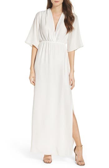 Natalie Deayala Collection Flutter Sleeve Silk Gown, White