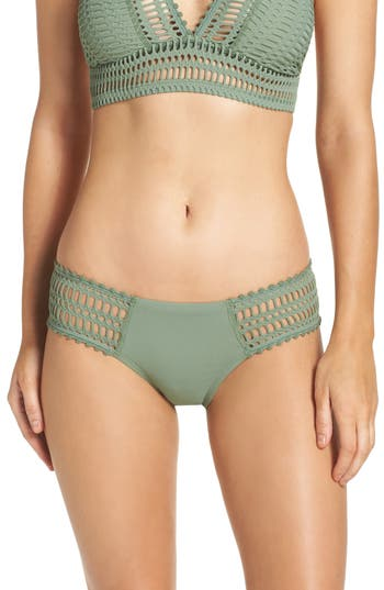 Women's Robin Piccone 'Sophia' Crochet Bikini Bottoms, Size X-Small - Green