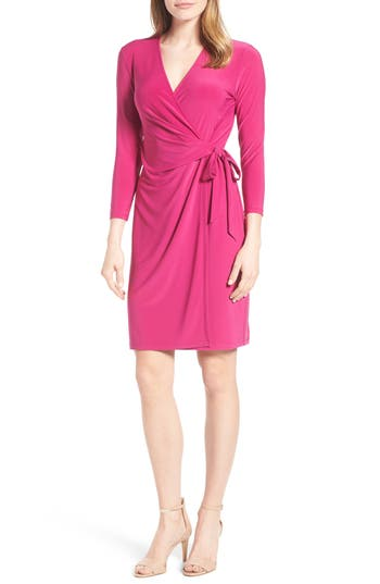 Women's Anne Klein Stretch Jersey Faux Wrap Dress, Size 16 - Purple