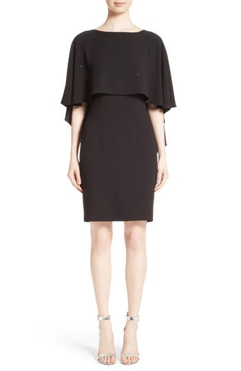 St. John Collection Satin Back Crepe Cape Dress