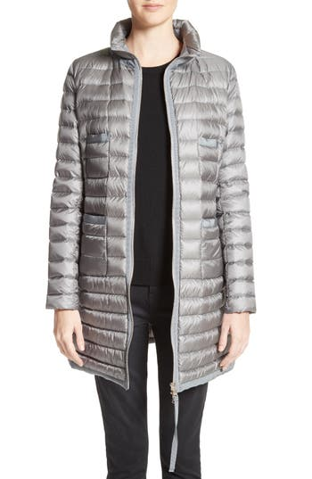 Moncler Bogue Water Resistant Long Down Jacket, Grey