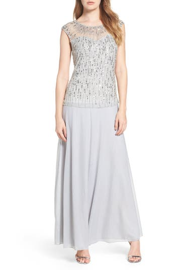 Pisarro Nights Mesh & Chiffon Gown