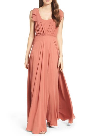 Lulus Flutter Sleeve Chiffon Gown, Orange