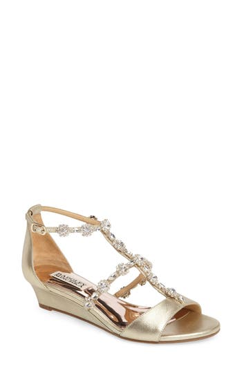 Badgley Mischka Terry Ii Crystal Embellished Wedge Sandal- Metallic