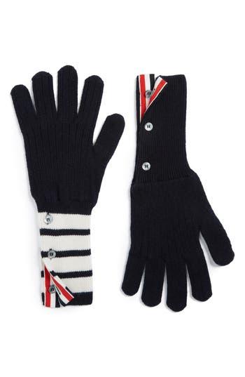 Men's Thom Browne 4-Bar Stripe Cashmere Gloves