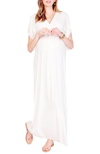 Ingrid & Isabel Split Kimono Sleeve Maternity Maxi Dress, Ivory