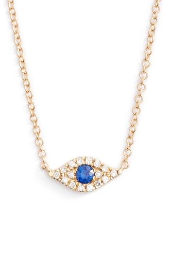 Women's Ef Collection Evil Eye Diamond & Sapphire Pendant Necklace