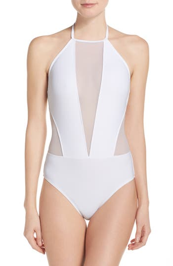 Ted Baker London Halter One-Piece Swimsuit, White
